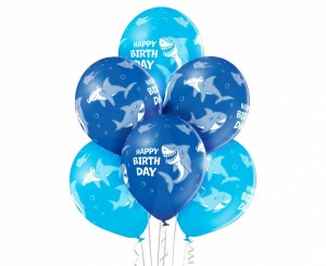 Balony Birthday Shark Rekiny, 6 szt. BELBAL