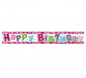 "Banner ""Happy Birthday różowe"" 1,8 m"