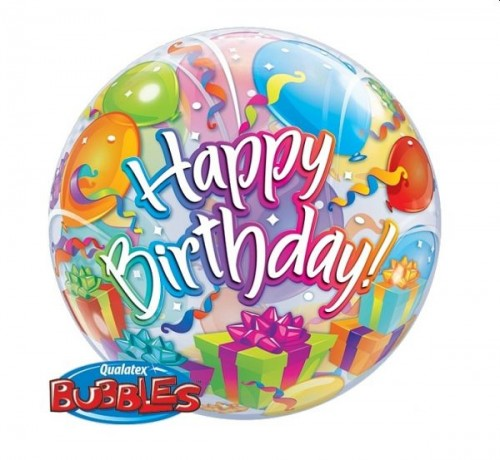 Balon foliowy 22 cali QL Bubble Happy Birthday (balony i prezenty).jpg