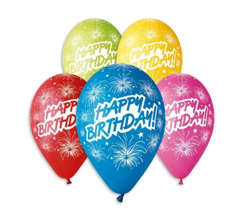 Balony Premium Happy Birthday fajerwerki, 12 cali 5 szt.jpg